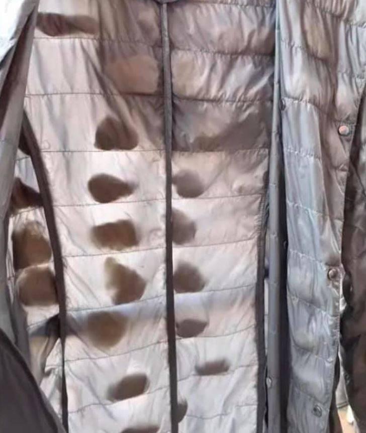 網友表示,自己有一件羽絨外套裡的絨毛縮成了一堆小球。(圖取自臉書社團「爆廢公社二館」)