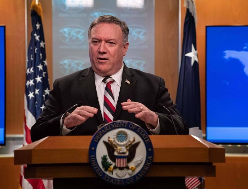 美國務卿龐皮歐在訪問美國之音發表談話,批評中國政府藐視人權的行為。(法新社)