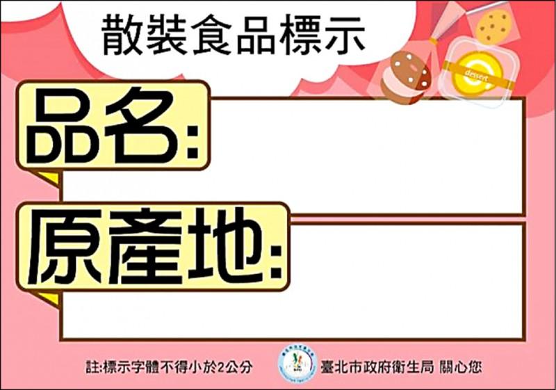 台北市衛生局提供民眾下載的「散裝食品標示卡」。(記者楊心慧翻攝)