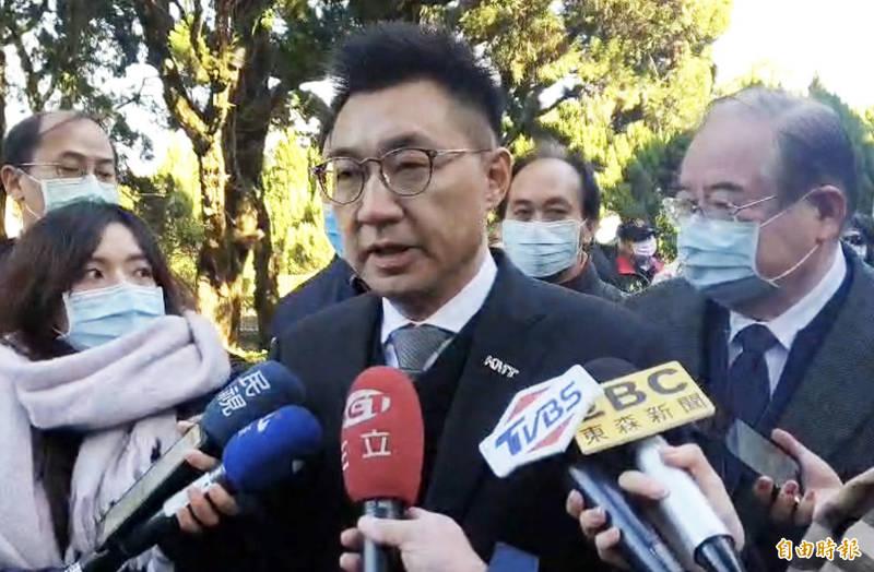 美駐聯大使訪台取消,江啟臣表示可以理解,但政府在台美關係實質發展要更努力。(記者李容萍攝)