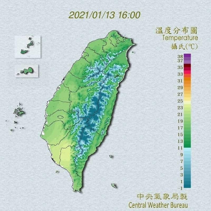 寒流來襲加上輻射冷卻發威,今清晨台北、新竹、台中等9個人工測站出現入冬新低溫。(記者蕭玗欣翻攝)