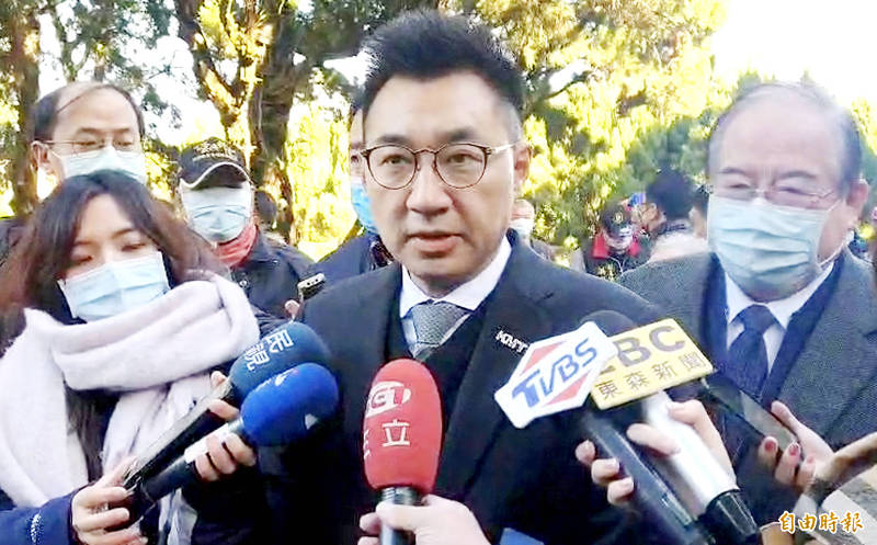 Chinese Nationalist Party (KMT) Chairman Johnny Chiang speaks to reporters in Taoyuan yesterday. Photo: Lee Jung-ping, Taipei Times