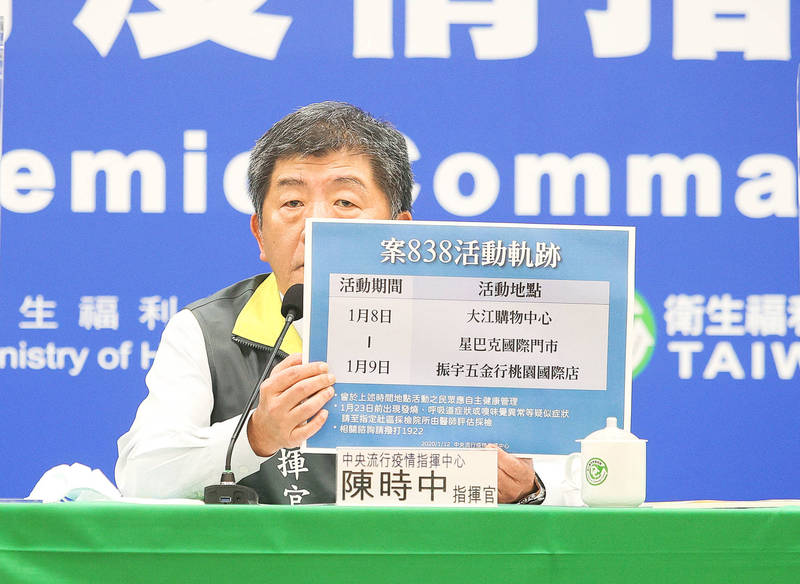 Minister of Health and Welfare Chen Shih-chung presents the details of a confirmed COVID-19 case during a news conference at the Central Epidemic Command Center in Taipei on Saturday. Photo: CNA