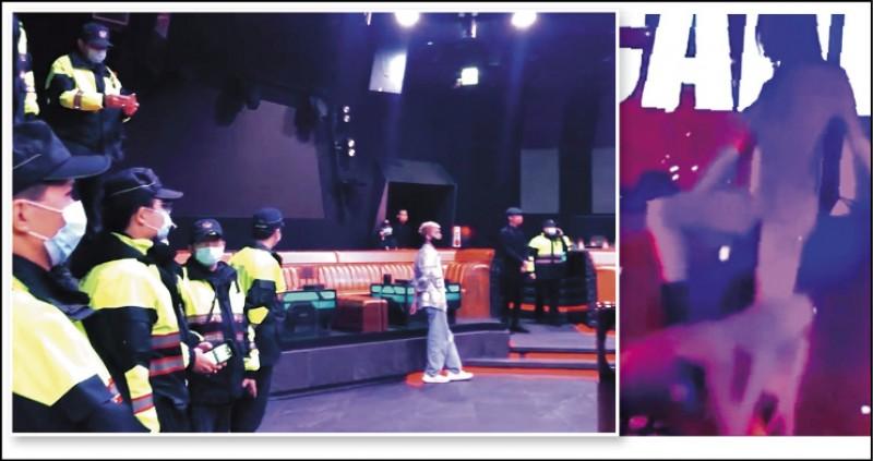 2女1男舞者穿緊身衣,模仿3P動作被警方認定為猥褻行為。 (記者張瑞楨翻攝自黑色豪門企業) 中市警局四分局翌日臨檢夜店。(記者張瑞楨翻攝)