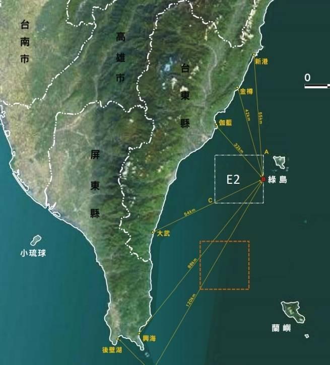 國家海洋研究院與中山大學團隊,規劃綠島西南海域(E2)為國家級洋流能測試場。(記者洪定宏翻攝自許弘莒的簡報資料)