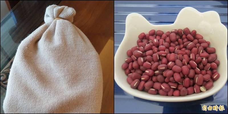 網友公布「紅豆暖暖包」製作方法,獲得其他網友大好評。(左圖取自爆怨公社,右圖資料照)