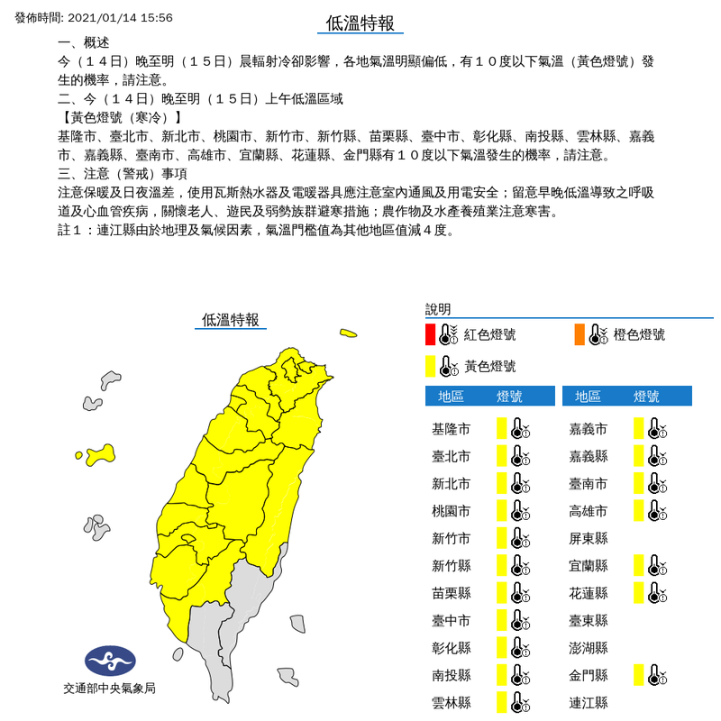 中央氣象局今日下午15點56分針對19縣市發布低溫特報,今晚至明晨因輻射冷卻影響,各地氣溫偏低,有10度以下低溫發生的機率。(圖擷取自中央氣象局網站)