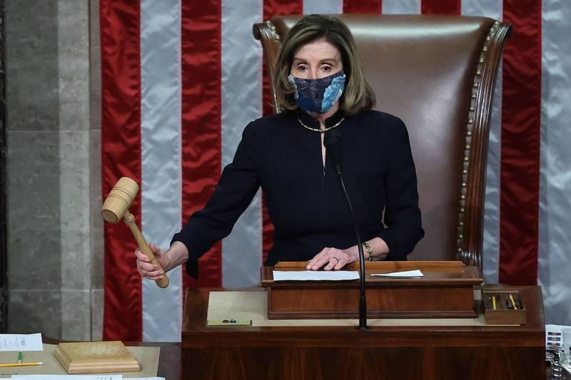 美國聯邦眾議院13日通過總統川普彈劾案。圖為眾議院議長裴洛西。(法新社)