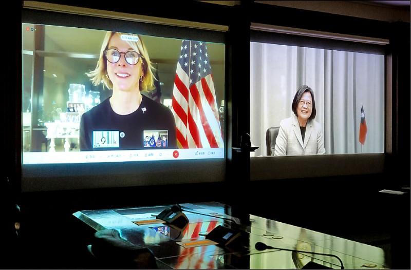美國駐聯合國大使克拉夫特與蔡總統視訊連線會晤。(取自總統府)