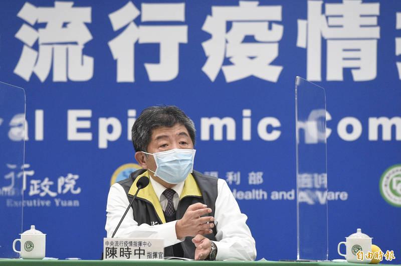 中央流行疫情指揮中心指揮官陳時中說,醫師休息室驗到4個點有發現病毒,這個休息室除了案838有使用,另外一個醫師也有使用,因此列為居家隔離對象。(記者叢昌瑾攝)