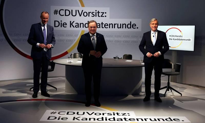德國當地時間16日舉行線上選舉,將選出新任基民黨黨魁。左起為麥茲、拉斯其特及洛特根。(路透)