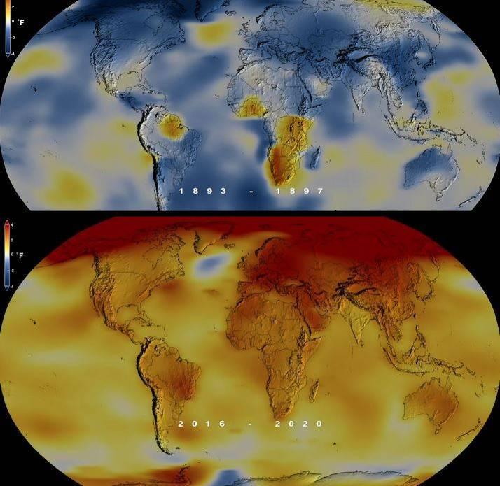 2020年與2016年並列史上最熱一年。(本報合成照,擷取自NASA)