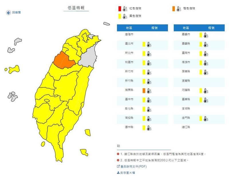 低溫特報燈號圖,橙色地區有6度以下低溫發生的機率,黃色地區則為10度以下發生的機率。(圖擷取自中央氣象局)