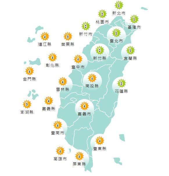 紫外線方面,明天台北市、新北市、桃園市、新竹縣、新竹市、基隆市、宜蘭縣及花蓮縣為「低量級」,其他地區均為「中量級」。(圖擷取自中央氣象局)
