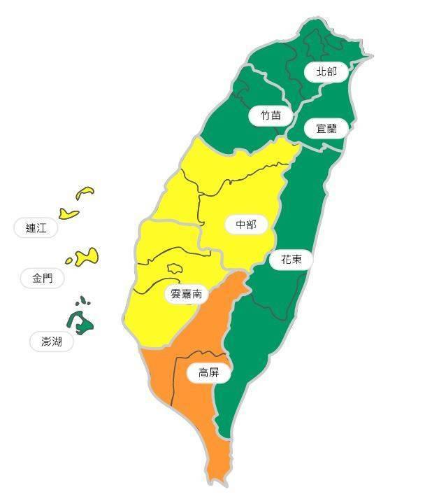 空氣品質方面,明天北部、竹苗、宜蘭、花東及澎湖地區為「良好」等級,中部、雲嘉南、連江及金門地區為「普通」等級,高屏地區為「橘色提醒」等級。(圖擷取自環保署空氣品質監測網)