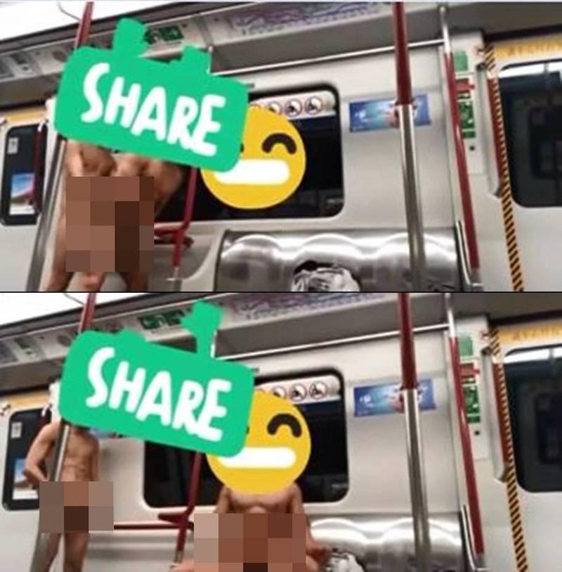 網路上流傳2段影片,只見有2名裸男疑似在港鐵車廂內性交、自瀆,影片瘋傳後引來港警關切。(網路影片備份截圖,本報後製)