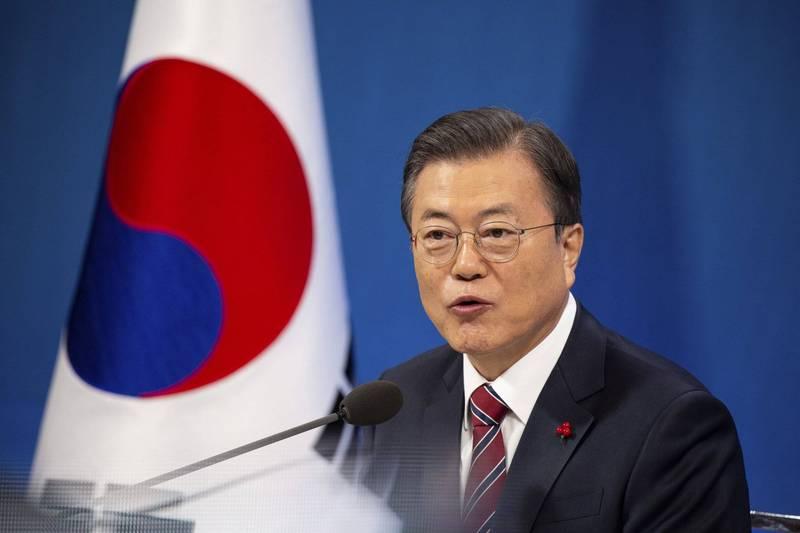 南韓總統文在寅今日在新年記者會上表示,拜登政府應延續川金會成果,重新推動美朝、兩韓對話。(美聯社)