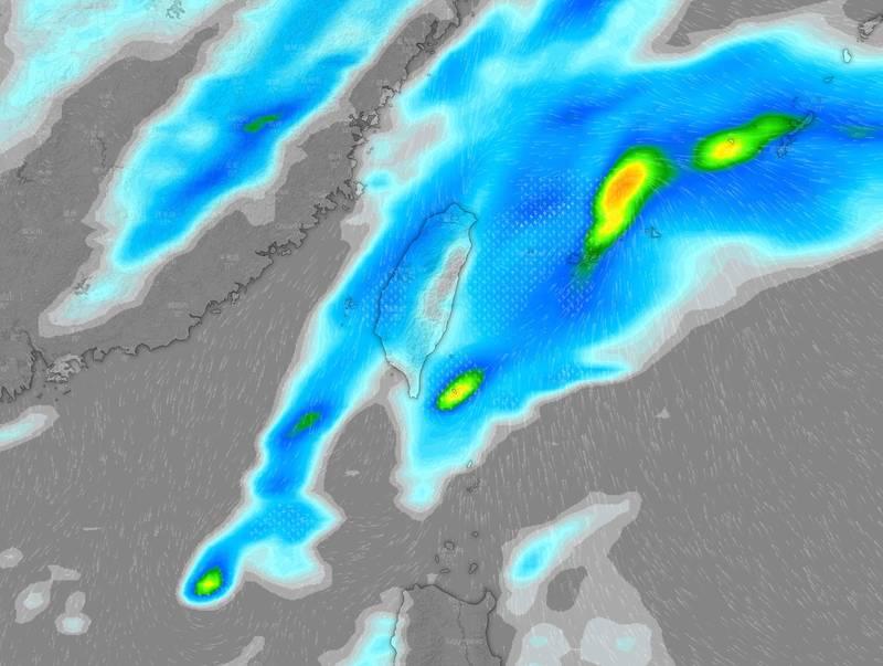 「台灣颱風論壇|天氣特急」預報,週五將會有一波來自南方的水氣向台灣襲來,並在週六與鋒面結合,為全台灣帶來雨水。(圖擷取自臉書_台灣颱風論壇|天氣特急)