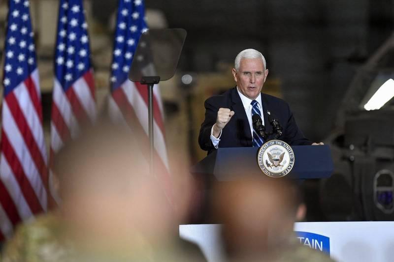 美國副總統彭斯(見圖)指出美國總統川普是近幾10年來首位沒再捲入新戰爭的美國總統,並為此感到驕傲。(美聯社)