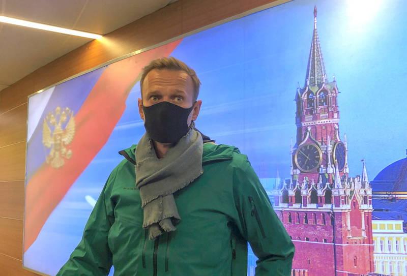 俄羅斯反對派領袖納瓦尼17日從德國飛抵莫斯科,剛下機就被警方逮捕,此舉引發西方國家嚴厲譴責。(路透)