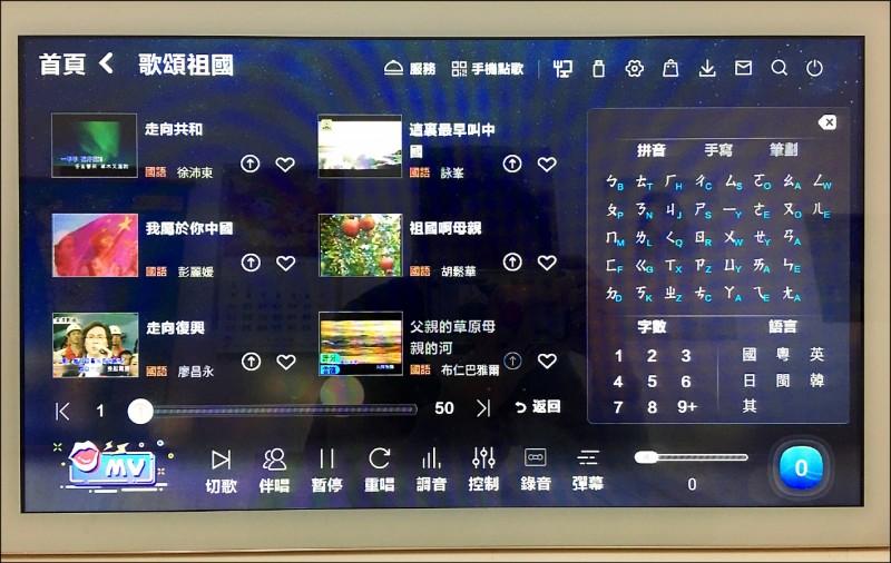 中國雲端伴唱機歌單有專門的「歌頌祖國」選項,包括「祖國啊母親」、「我屬於你中國」等曲目。(讀者提供)