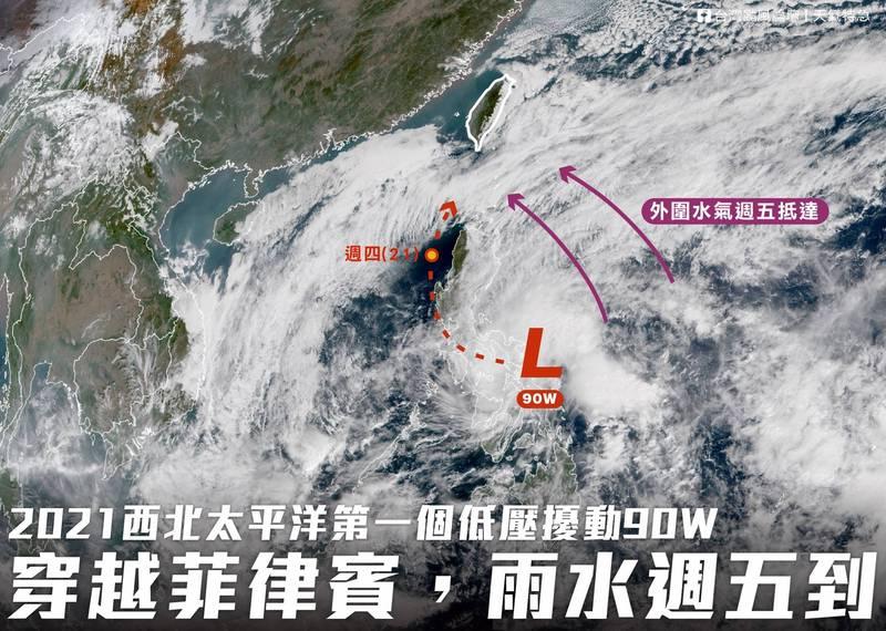 氣象觀測粉專「台灣颱風論壇|天氣特急」今(19)日指出,今年第1個低壓擾動90W已生成,預計在週五就會抵達台灣,其外圍雲系水氣有機會為各地帶來降雨;到了週六,這波水氣會與經過台灣的鋒面結合,帶來明顯降雨。(圖擷取自臉書_台灣颱風論壇|天氣特急)