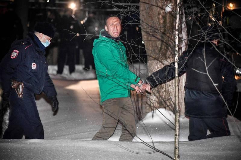 納瓦尼於返國後旋即遭到逮捕。克里姆林宮以勿干預內政為由拒絕了西方諸國放人的要求。(法新社)