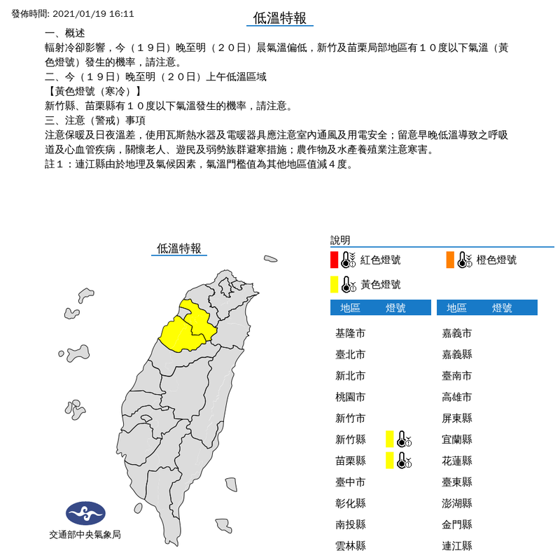 中央氣象局今(19)日下午4點11分針對新竹縣、苗栗縣發布低溫特報,今晚至明晨氣溫偏低,有10度以下氣溫發生的機率。(圖取自中央氣象局網站)