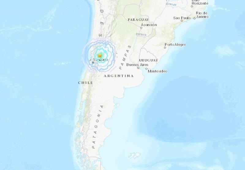 阿根廷西部發生規模6.4的強震,震源深度僅14.3公里。(圖擷自USGS)