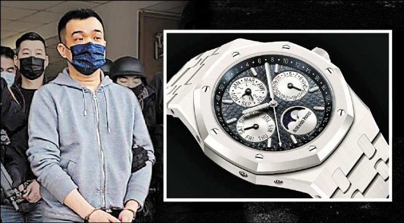 寶和會精神領袖邵柏傑(左圖,資料照)去年12月因館長槍擊案被捕,警方當時扣回疑市價3百萬元的AP精品錶(下圖,同款錶,Audemars Piguet提供),要發還時卻驚傳「遺失」。