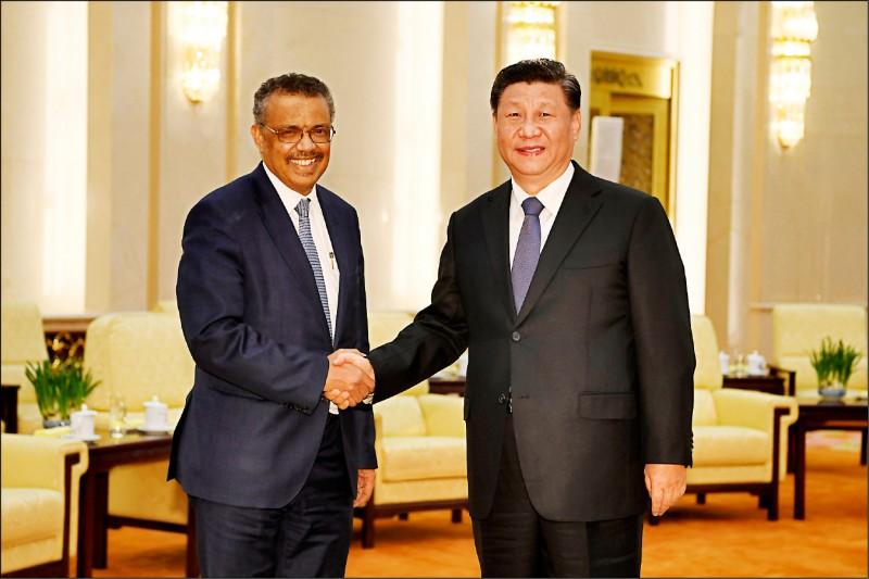 去年一月,世界衛生組織秘書長譚德塞訪問中國,中國國家主席習近平在北京人民大會堂接見。(美聯社檔案照)