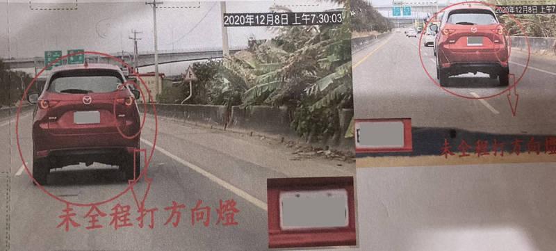 林男在員大排平面道路行駛,有打方向燈,還是被開單,只因最後0.1秒停止閃爍。(記者顏宏駿攝)
