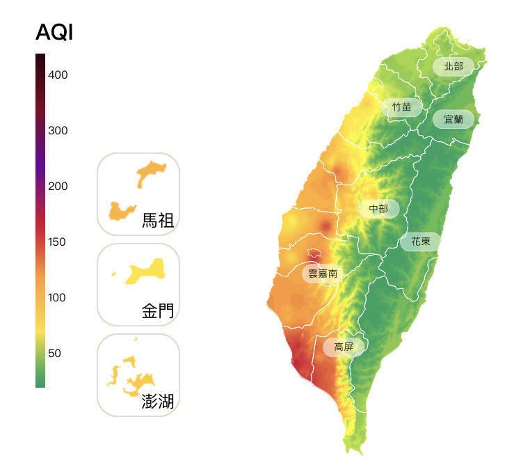高屏地區空氣品質不佳。(圖擷取自環保署空氣品質監測網)