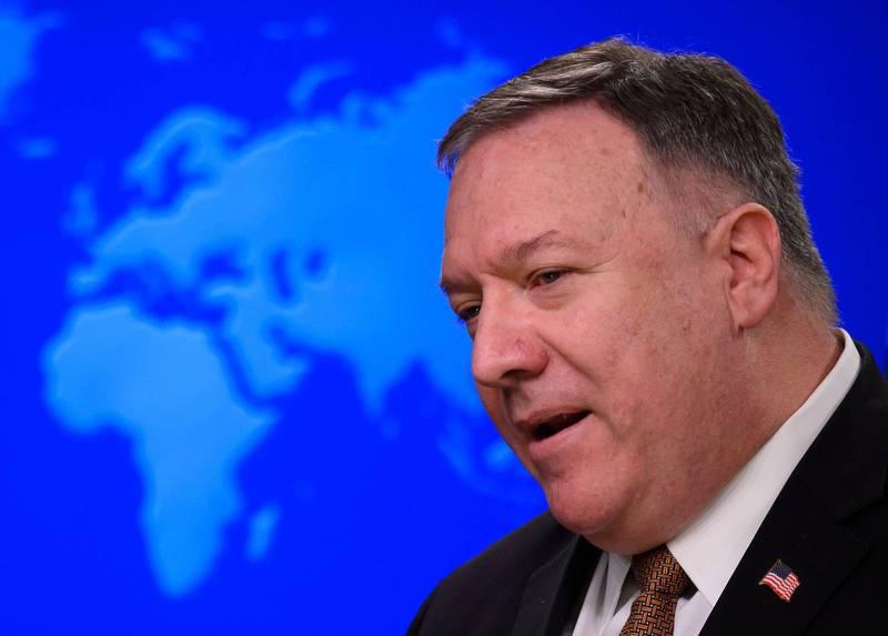 美國務卿龐皮歐指控中國對新疆少數民族犯下種族清洗。(法新社)