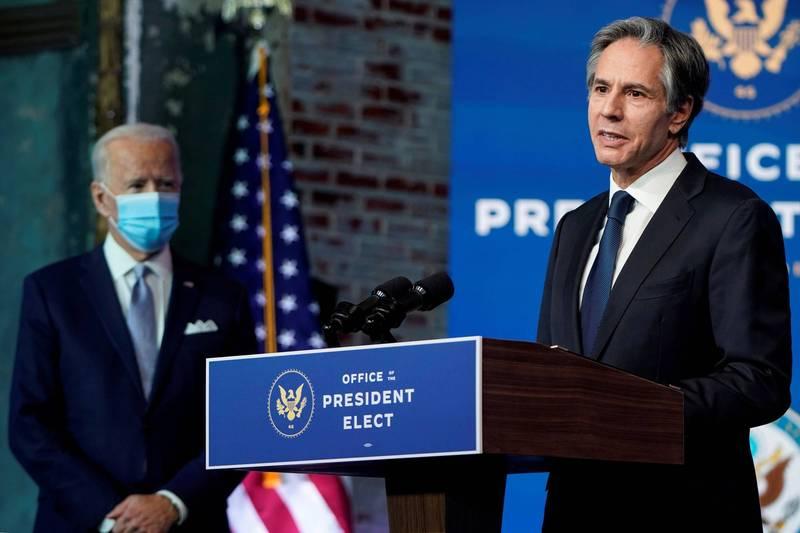 美國準國務卿布林肯(右)表示,將確保台灣有能力自我防衛。(路透)