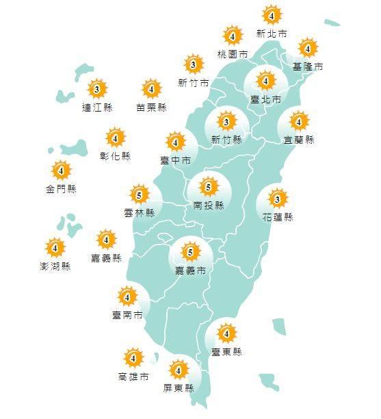 紫外線方面,明天各地地區皆為黃色「中量級」。(圖取自中央氣象局)