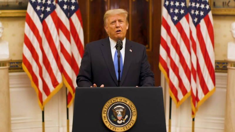 美總統川普發表卸任演說。(歐新社)
