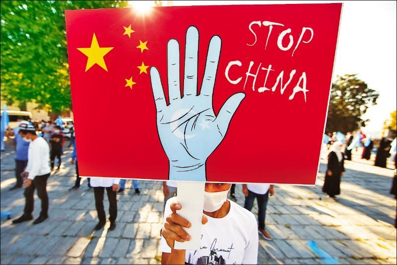 維吾爾族示威者去年十月一日中共建政七十一週年當天,在土耳其最大城伊斯坦堡示威,要求迫害新疆維吾爾自治區少數民族的「中國住手」。(美聯社檔案照)