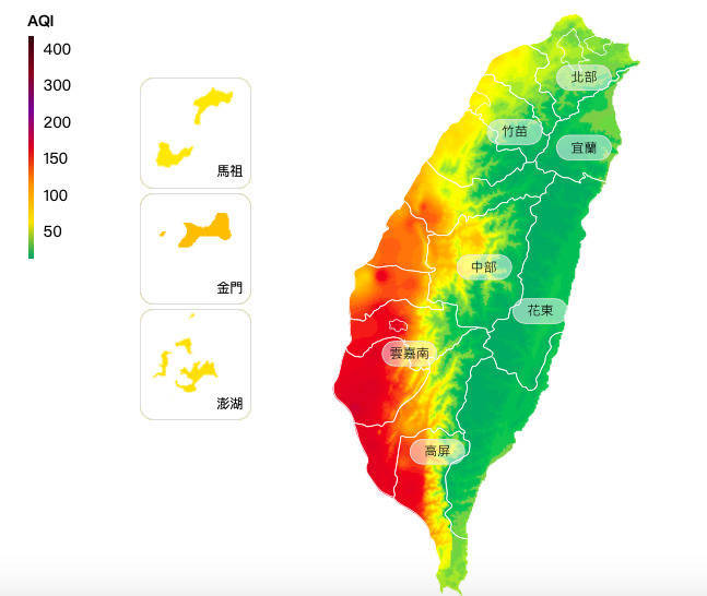 南部地區空氣品質差,有18測站亮紅燈、15測站亮橘燈。(取自環保署空氣品質監測網)