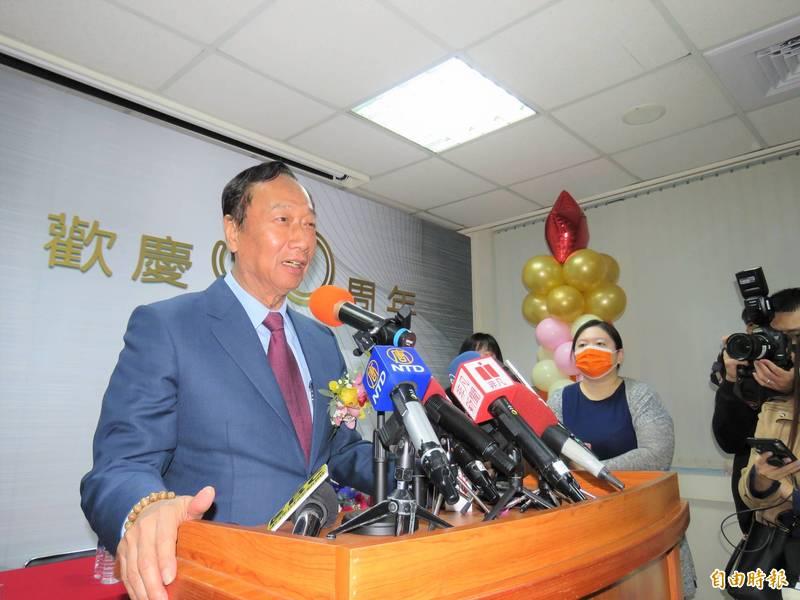 鴻海創辦人郭台銘今天出席模具公會30周年慶活動。(記者陳心瑜攝)