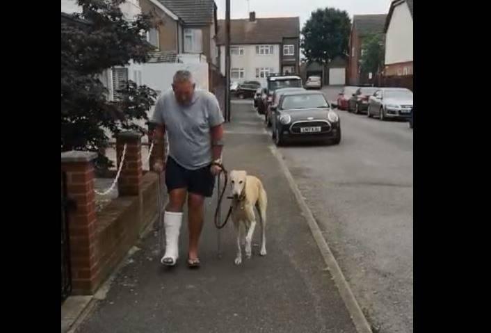 Bill只是為了安慰腳骨折用拐杖行走的主人,於是和他做出一樣的動作。(擷取自Russell Jones臉書)