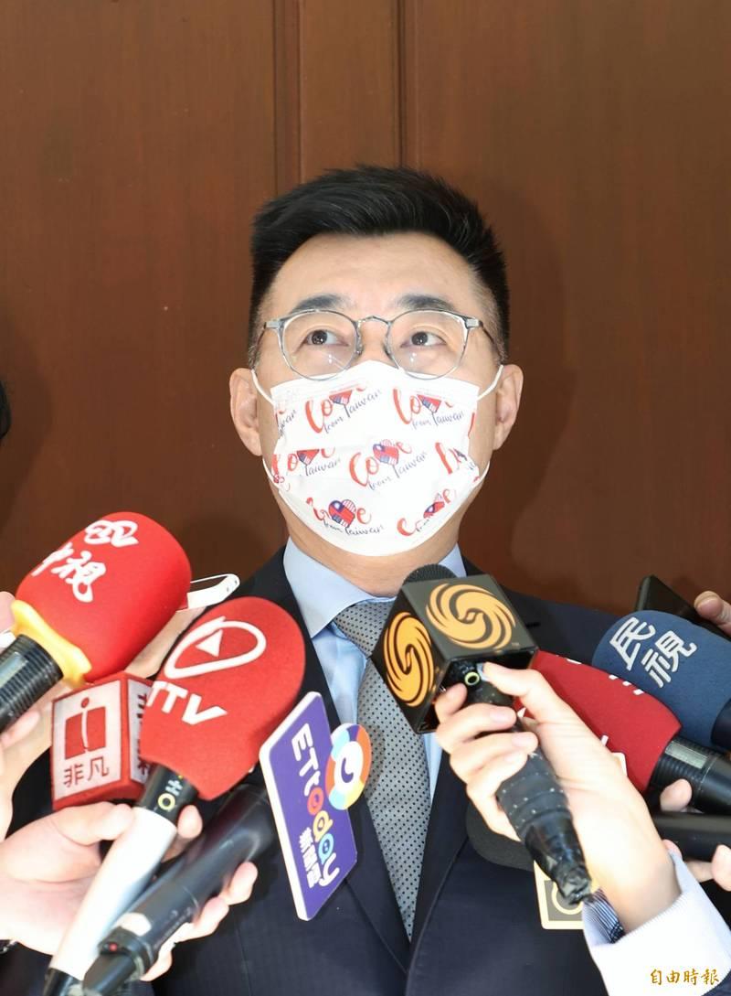 國民黨主席江啟臣質疑,疫情嚴峻,執政黨中常會居然不是討論怎麼守住防疫這一局,而是討論怎麼守住黃捷,令人遺憾跟失望。(記者方賓照攝)