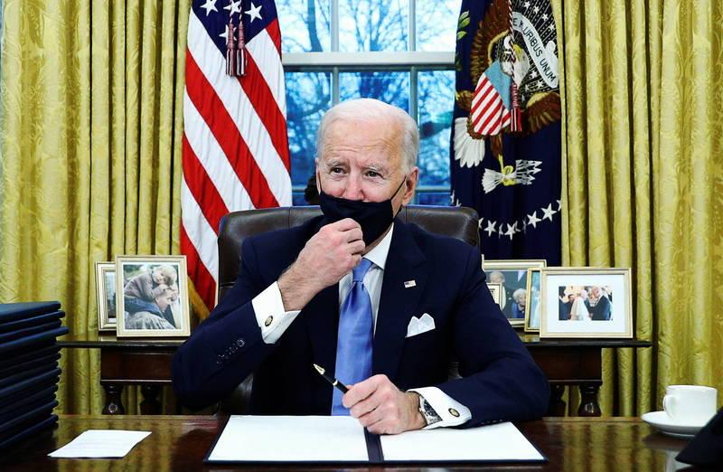 美總統拜登正式入主白宮。(路透)