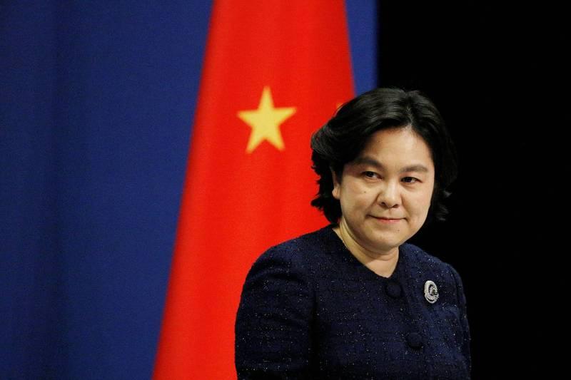 華春瑩(見圖)聲稱,中方制裁川普政府高官充分展示了中國政府捍衛國家利益的堅定決心。(路透檔案照)