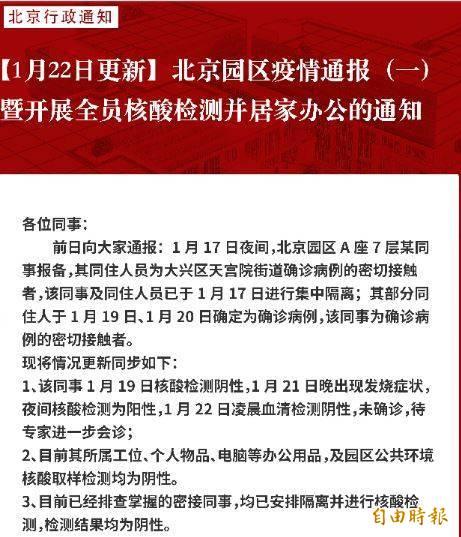 網易北京園區安排員工居家辦公至本月31日。(圖擷取自京報網)