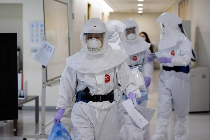 南韓境內武漢肺炎新增346確診、12例死亡。示意圖。(彭博)