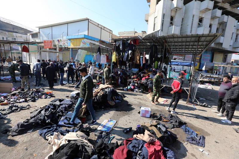 伊拉克首都巴格達一處露天市場昨日發生2起自殺炸彈襲擊,造成32人死亡、至少110人受傷。(歐新社)