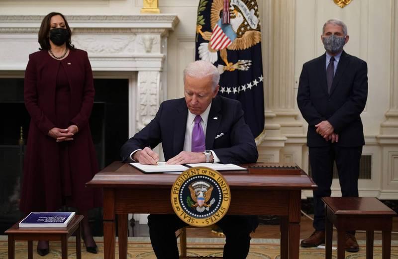 美國總統拜登今日簽署2項與武漢肺炎疫情有關的行政命令。(法新社)