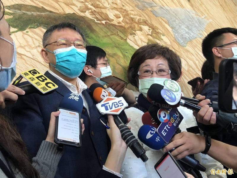前副總統呂秀蓮今應邀出席民眾黨活動,與民眾黨主席、台北市長柯文哲同台。(記者陳昀攝)