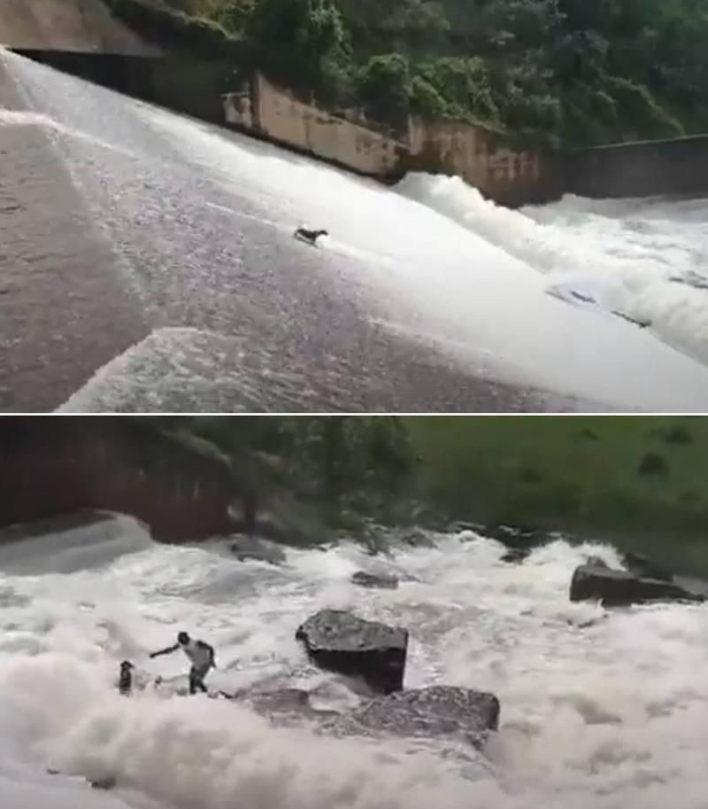 一隻狗狗在跟隨主人跨越大壩上游時,不慎被強勁水流沖下壩體,消失在奔騰的白色浪花中。(擷取自YT影片)